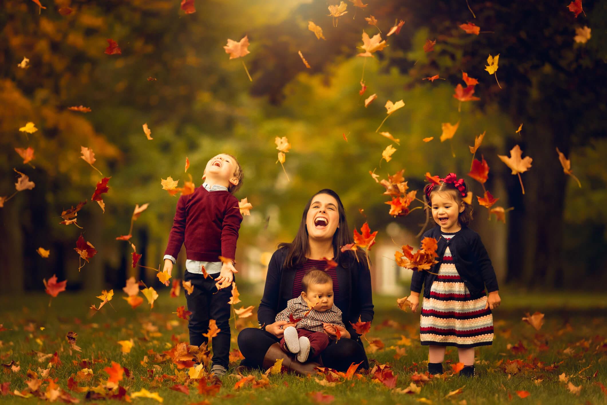 Fall Family Fine Art Portraits, Family Photographer Boston, mom