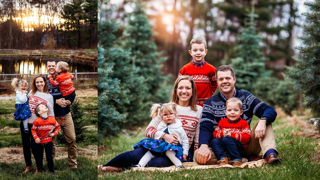 Winter Tree Farm boston family photo collage3